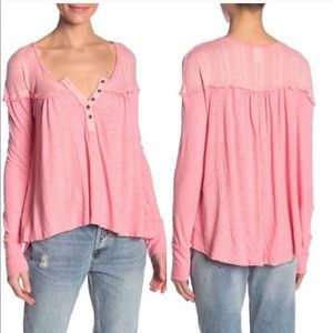 Free People coral hippie henley top NWT